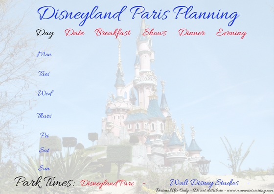 FREE Disneyland Paris Printing Planning Sheet