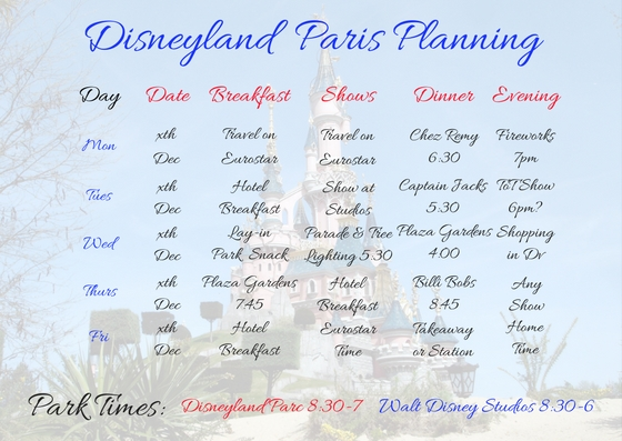 Disneyland Paris Filled in Planning Sheet