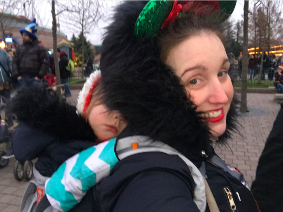 Disneyland Paris its a sling thing baby carrier hire