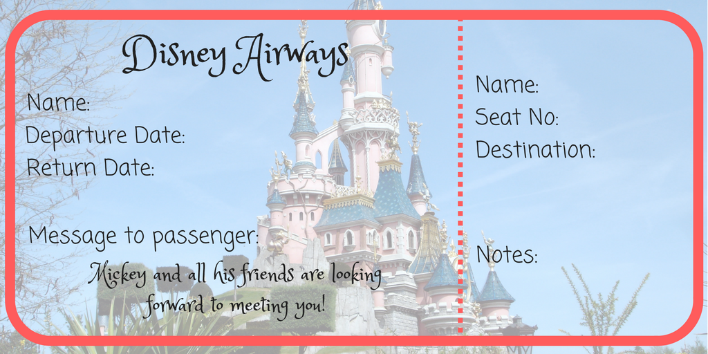 image relating to Disney World Printable Tickets identified as Totally free Disney Airplane Ticket Printable! - Mummies Waiting around