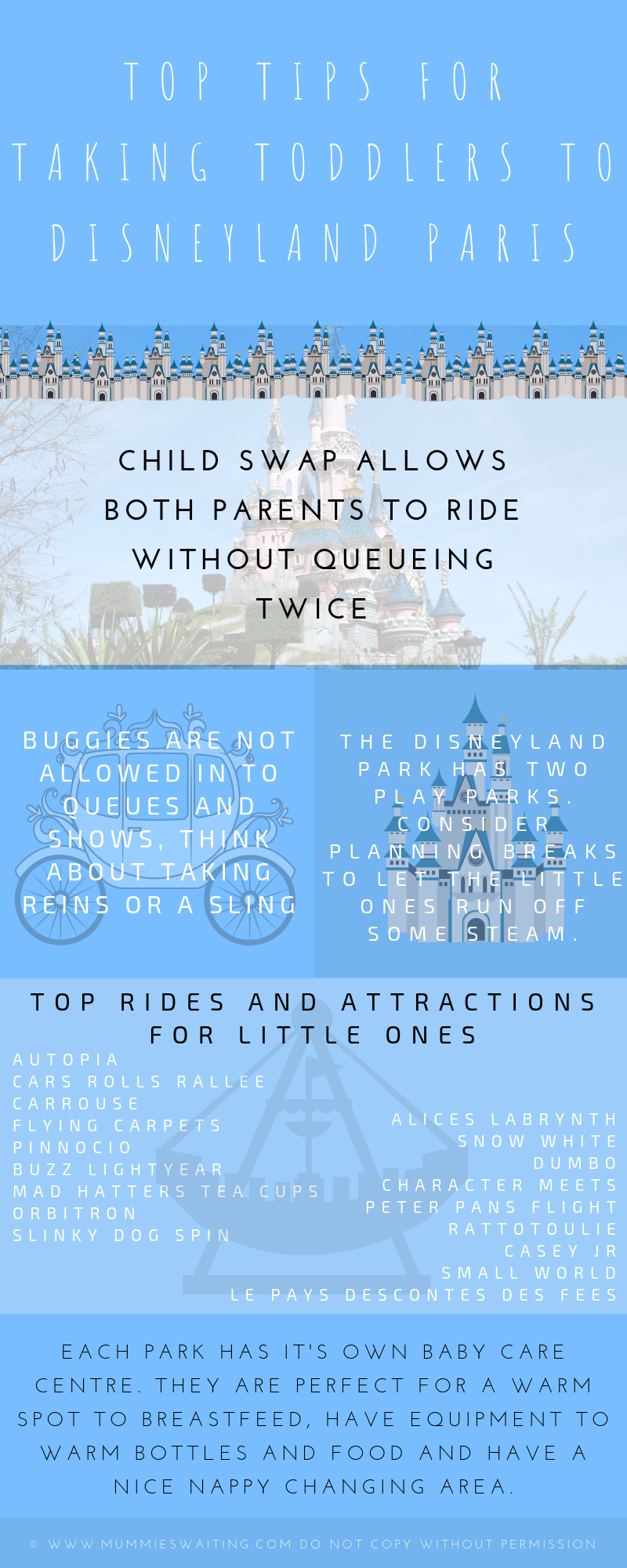 Top tips for taking toddlers to Disneyland Paris Infographic! Let's chat child swap, attractions and so much more!