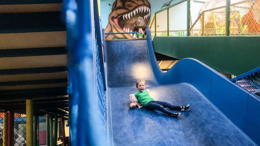 The giant slide and indoor play area inside Dinomite Cafe at Roarr Dinosaur Adventure - Norfolks Largest Indoor Play Area
