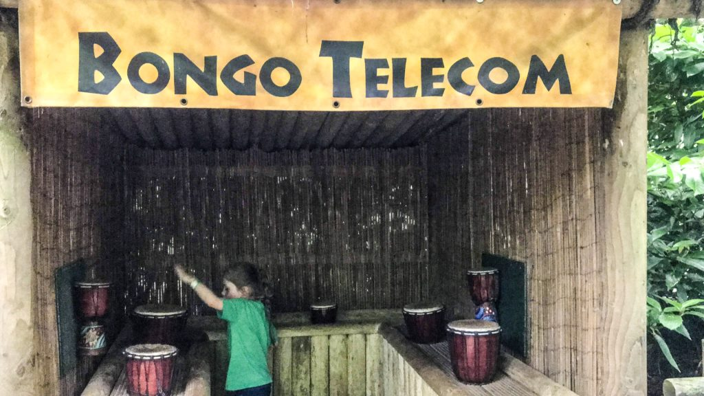 Bongo Telecom next to the last stamp in the Lost World A-mazing Adventure at Roarr Dinosaur Adventure