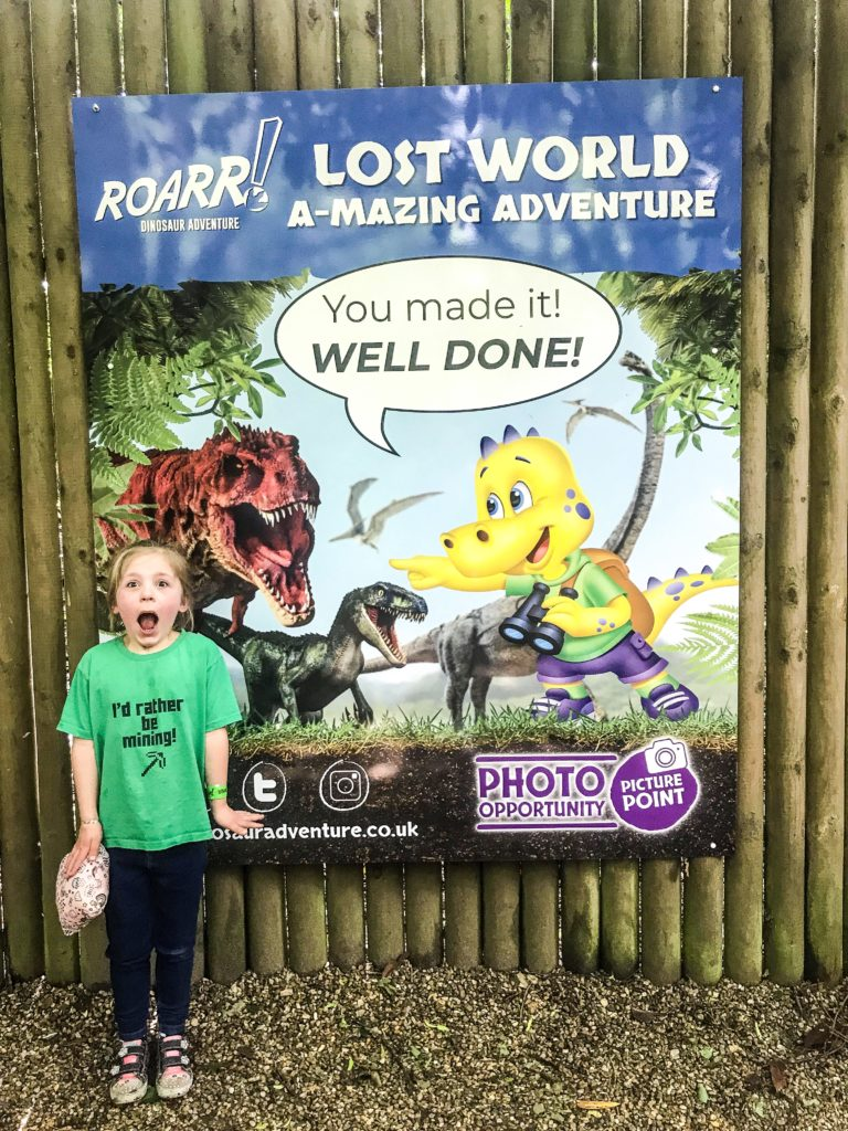 Time for a photo finish right at the end of the Lost World A-mazing Adventure at Roarr Dinosaur Adventure