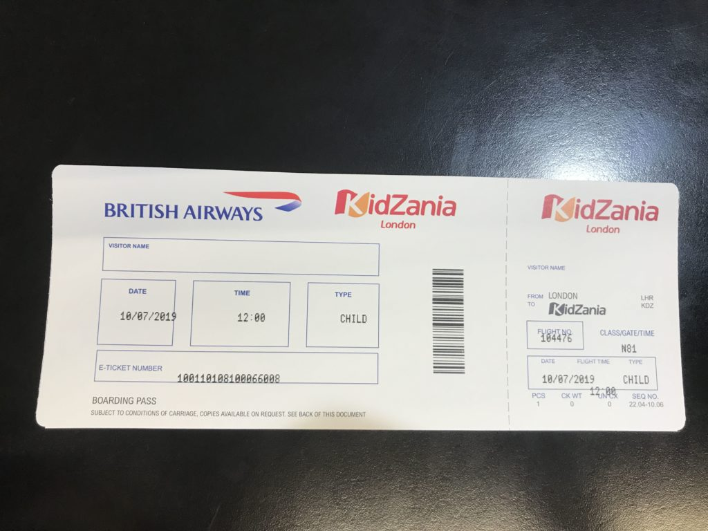 KidZania Boarding Pass