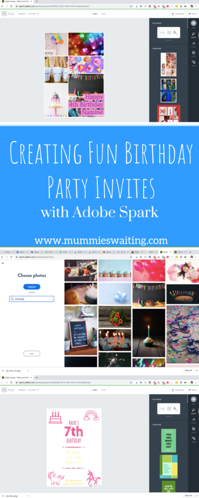 Creating Fun Birthday Party Invites with Adobe Spark #ad